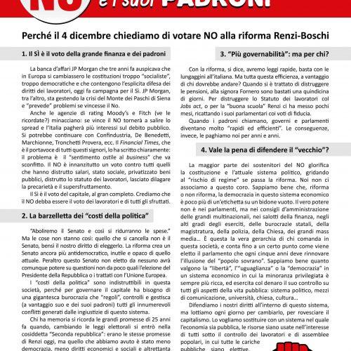 4 dicembre – Un NO contro Renzi e i suoi padroni