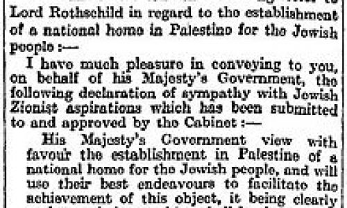 Palestina, Divide et Impera –  2 novembre 1917: la Dichiarazione di Balfour