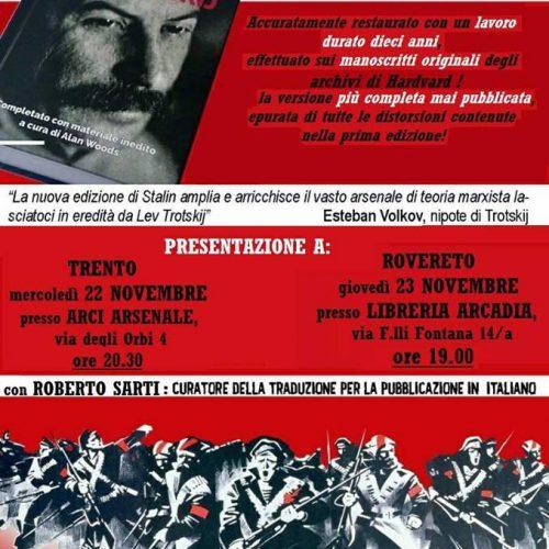 """Doppia presentazione di """"Stalin"""" di L. Trotskij in Trentino!"""
