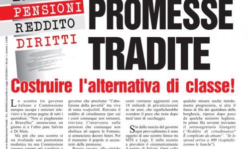 Ambiente, lavoro, pensioni, reddito, diritti – Il mercato delle promesse tradite