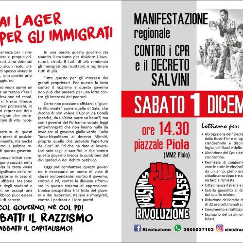 Milano, 1 dicembre – Manifestazione contro i CPR: il nostro volantino