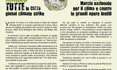 15 marzo, Global climate strike – 23 marzo, corteo contro le grandi opere: il nostro volantino