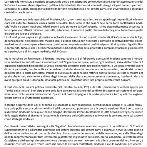 Modena, corteo nazionale Si-Cobas contro arresti e repressione – Il nostro volantino