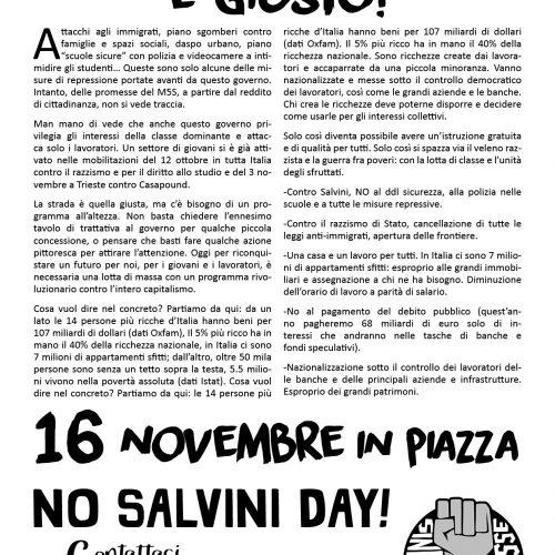 16 novembre, No Salvini day – Ribellarsi è giusto! (il nostro volantino)