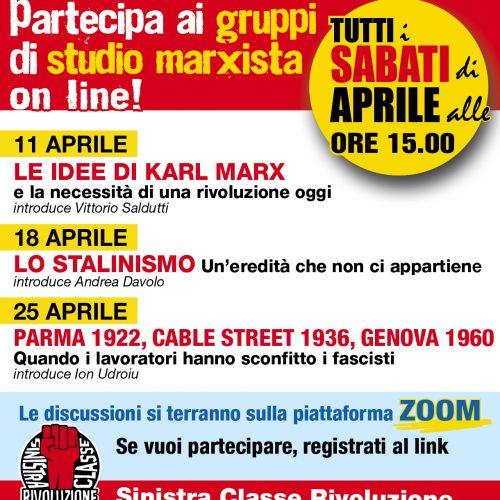 Partecipa ai Gruppi di Studio Marxista on line!