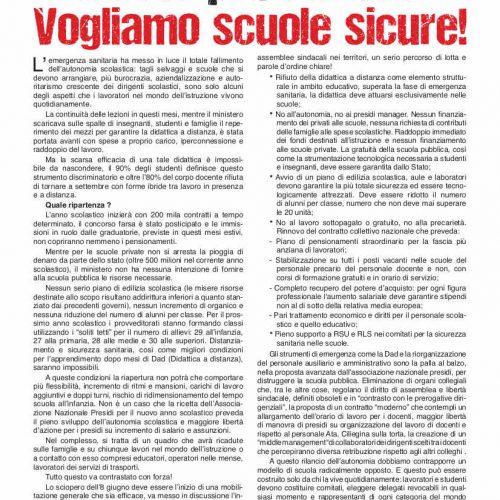8 giugno, scuola in SCIOPERO – Basta precariato, vogliamo scuole sicure!