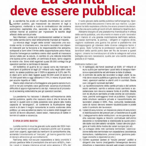 Mobilitazione nazionale infermieri – La sanità deve essere pubblica!