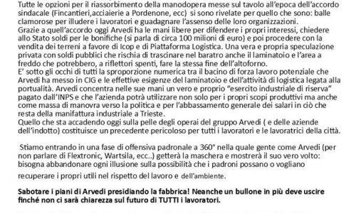 Trieste – Salvare tutti i posti di lavoro, nazionalizzare la Ferriera!